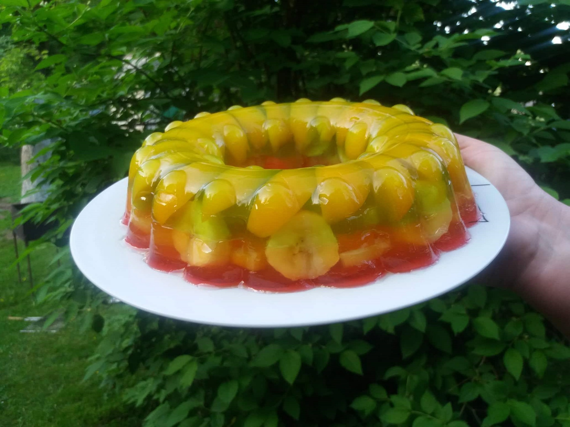 Želė tortas su vaisiais.