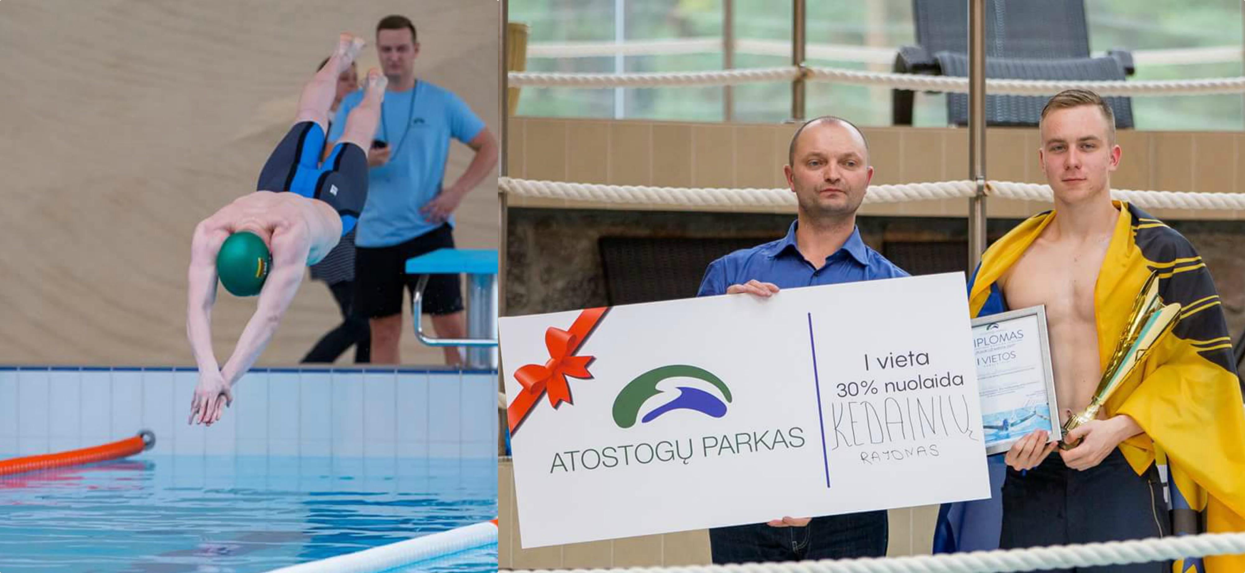 """Savo jėgas plaukime Darijus išbandė dalyvaudamas ir Kretingoje organizuotose varžybose """"Plauk už miestą 2017"""". Asmeninio archyvo nuotr."""