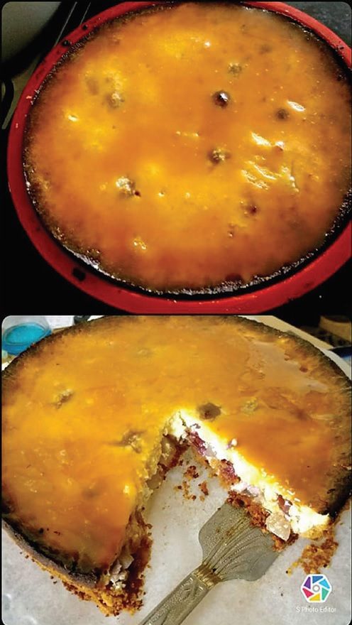 Saldžiai rūgštus gintarinis varškės pyragas.
