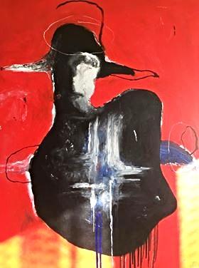 """Naujausias kraštiečio menininko darbas – aliejiniais dažais ant drobės nutapytas """"Luošas šventasis""""."""