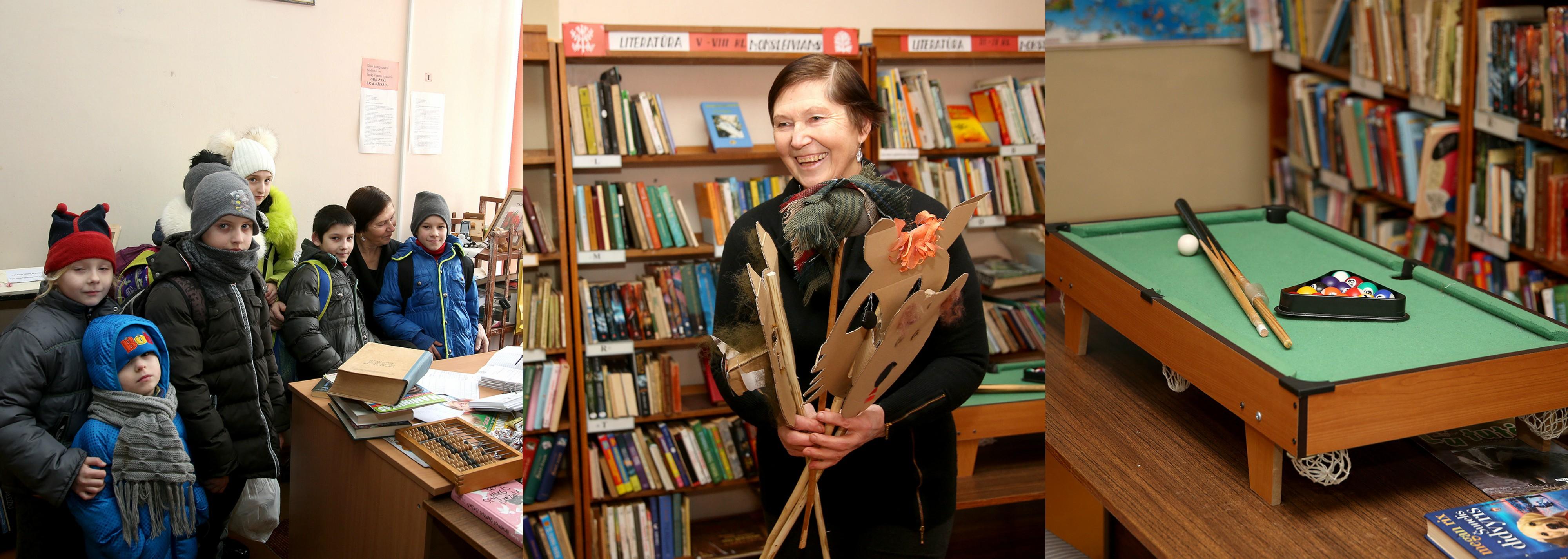 Pravėrus duris mus pasitinka visuomet besišypsanti Mikalojaus Daukšos viešosios bibliotekos Šlapaberžės filialo bibliotekininkė, čia gimusi ir augusi Regina Morkūnienė bei pulkas bibliotekoje kasdien besilankančių vaikų. Algimanto Barzdžiaus nuotr.