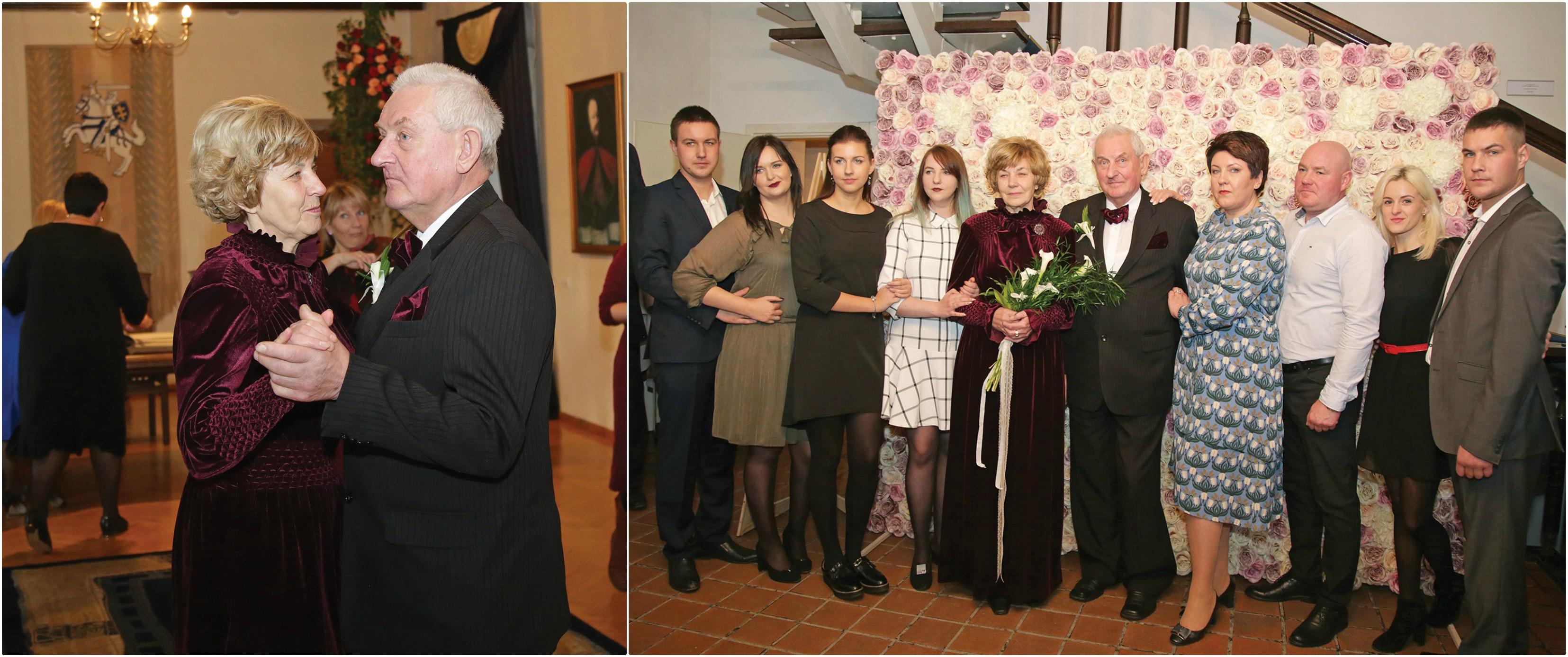 Emilijos ir Algirdo Staugų meilės šokis tęsiasi jau 50 auksinių santuokos metų. Iškilmingą įžadų atnaujinimo šventę porai surengė artimieji./ G. Minelgaitės-Dautorės nuotr.