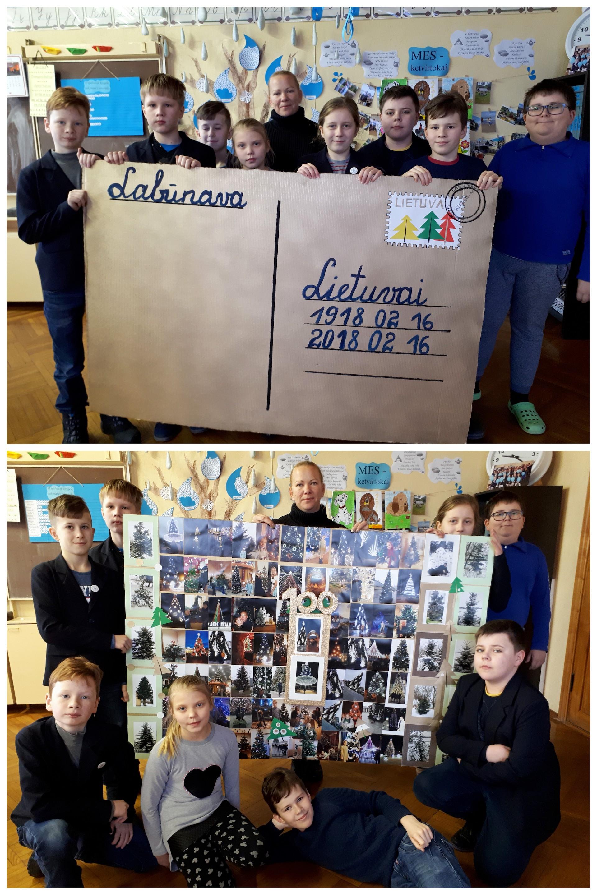 Iš 100 nuotraukų buvo suklijuotas didžiulis atvirlaiškis – sveikinimas Lietuvai.