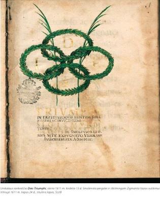 """Unikalaus rankraščio """"Dies Triumphi"""", skirto 1611 m. birželio 13 d. Smolenkso pergalei ir iškilmingam Zigmanto Vazos sutikimui Vilniuje 1611 m. liepos 24 d., titulinis lapas."""