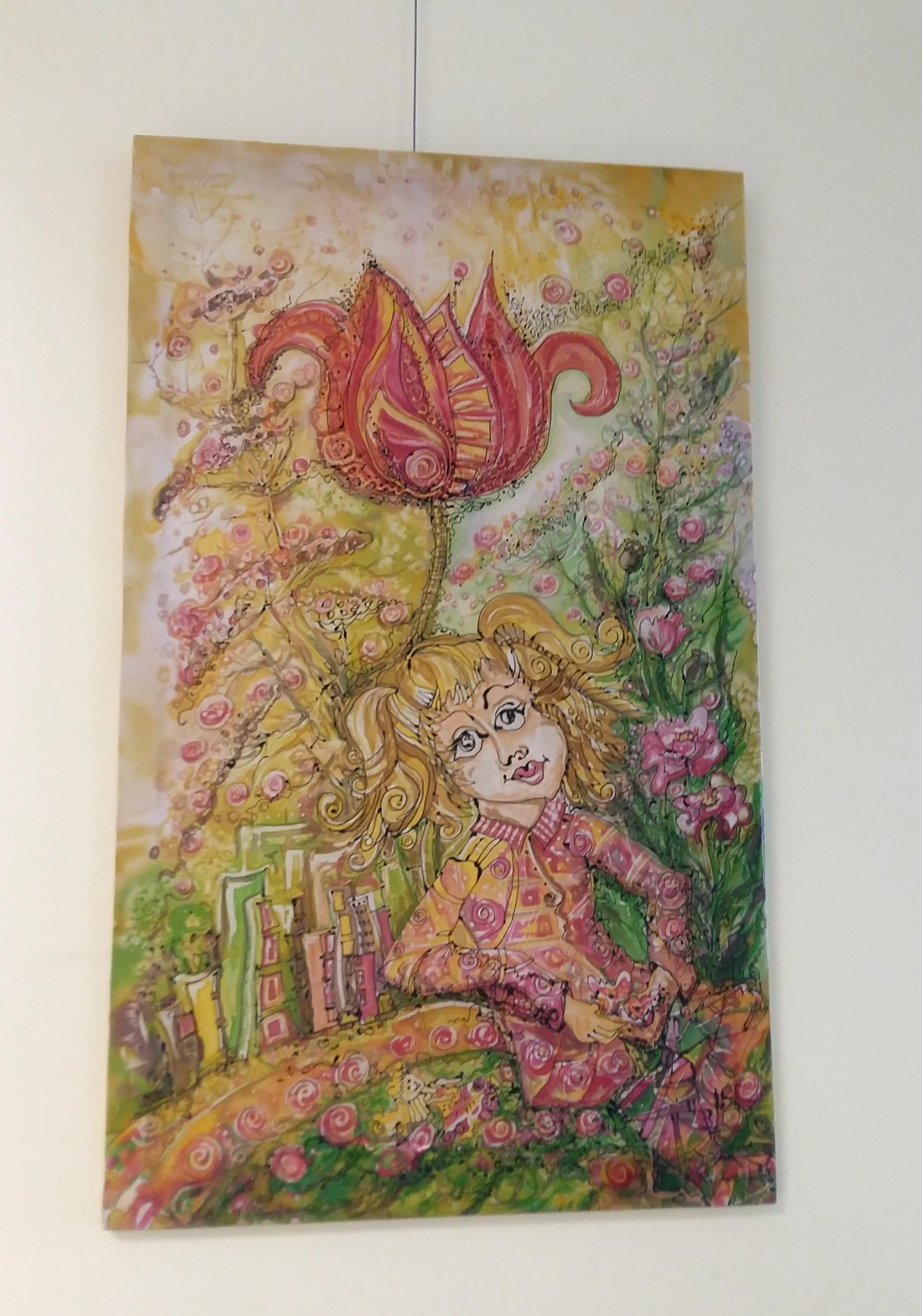 Laimos Bytautienės paveikslai. Autorės kūryboje dominuoja gėlių motyvai. A. Balčiūnienės nuotr.