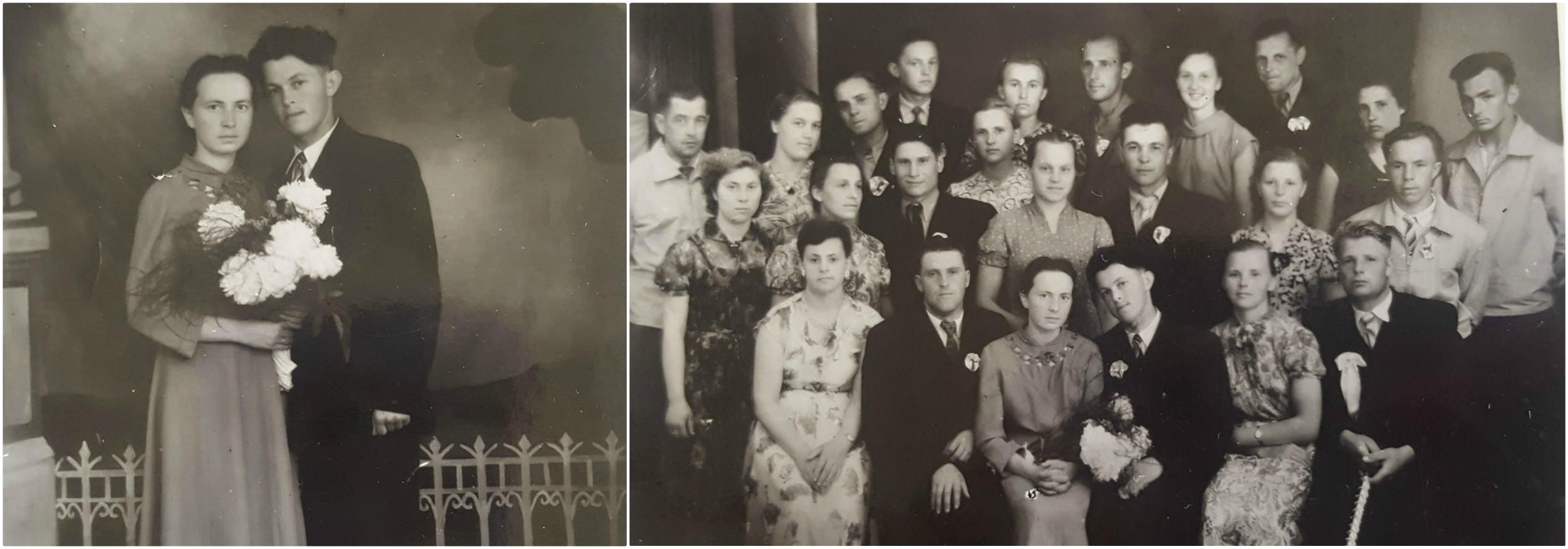 """Deimantinių vestuvių sukaktį minintiems Aksaverai ir Bronislovui Kišonams (pora pirmoje eilėje, centre) Mendelsono maršas pirmąjį kartą nuskambėjo 1959-ųjų birželio 28 dieną. Jų šventėje dalyvavo net 104 """"veseliotojai"""". Asmeninio archyvo nuotr."""