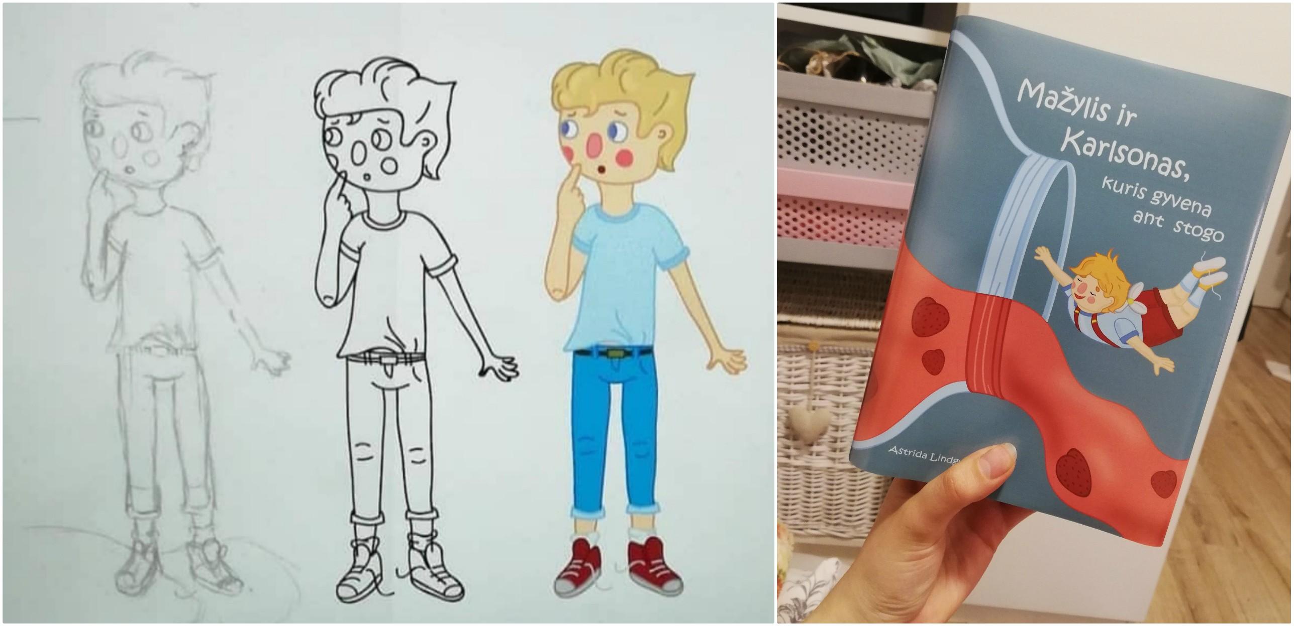 """Miglės iliustracijos Astridos Lindgren kūriniui """"Karlsonas, kuris gyvena ant stogo"""". / Asmeninio archyvo nuotr."""