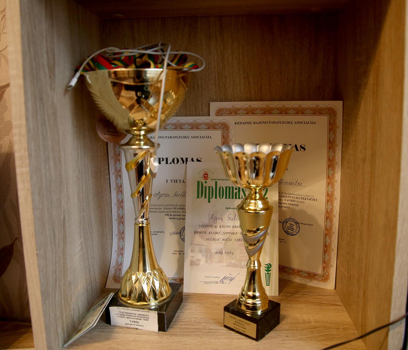 Ne vieną apdovanojimą bei medalį už nuopelnus sporte pelniusi mergina dvi dienas per savaitę dalyvauja Kėdainių rajono paraplegikų asociacijos šokių bei sporto užsiėmimuose. Algimanto Barzdžiaus nuotr.