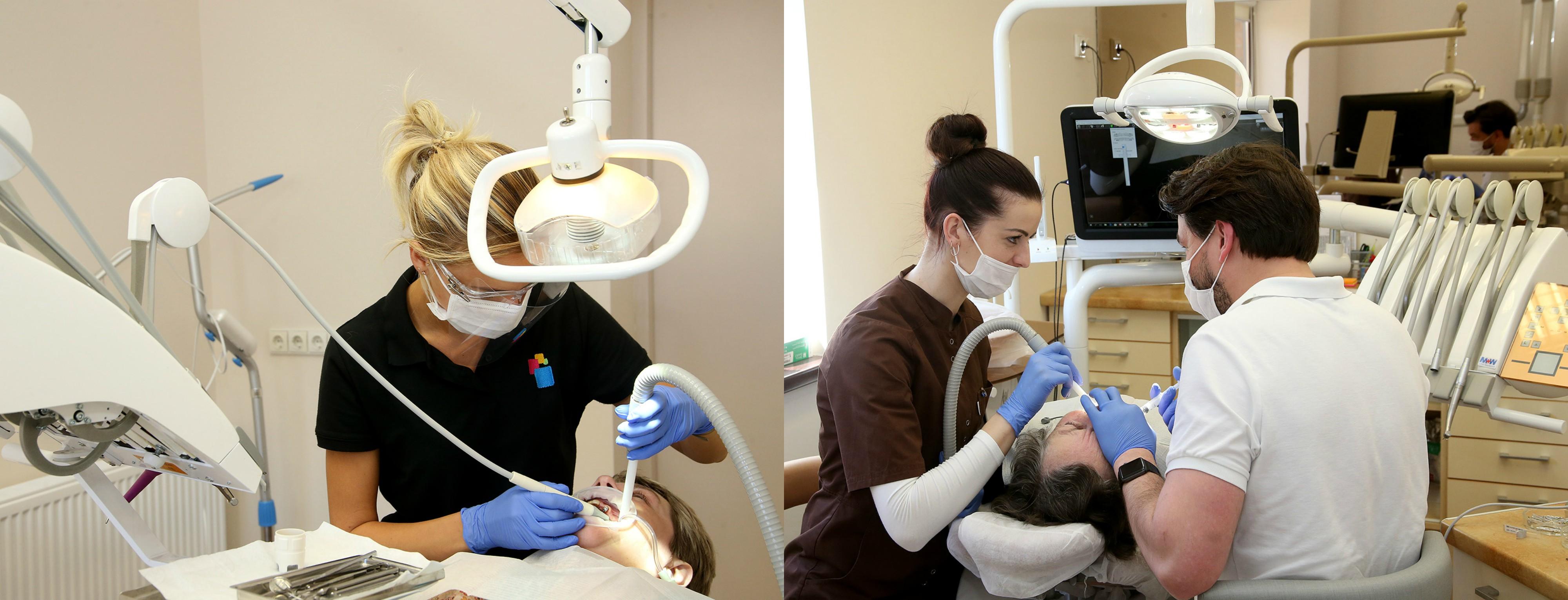 """Profesionalus rūpestis pacientų burnos ir dantų sveikata. Čia rasite platų paslaugų spektrą, moderniausius metodus susigąžinti prarastus dantis. A. Barzdžiaus nuotr., """"rinkosaikste.lt"""" koliažas"""