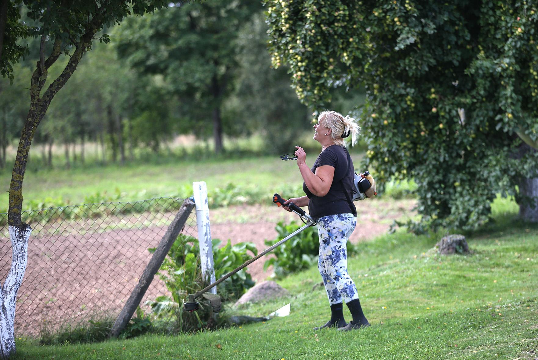 """Išvystame tikrai nekasdienį vaizdą – """"trimeriu"""" moteris šienauja pievą. Ji – Pėdžių kaimo patriotė Birutė. A. Barzdžiaus nuotr."""