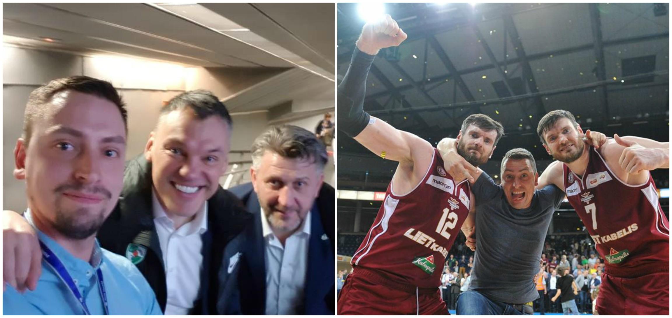 """Kaip pastebi pats V. Mikaitis, pagrindinis kelionių agentūros """"Pravalturas"""" """"elektoratas"""" – žinomų Lietuvos krepšinio komandų treneriai ir žaidėjai. Išvydę Vytautą, jie nevengia paminėti, iš kokios """"įstaigos"""" jis atvykęs. Roko Lukoševičiaus ir asmeninio archyvo nuotr."""