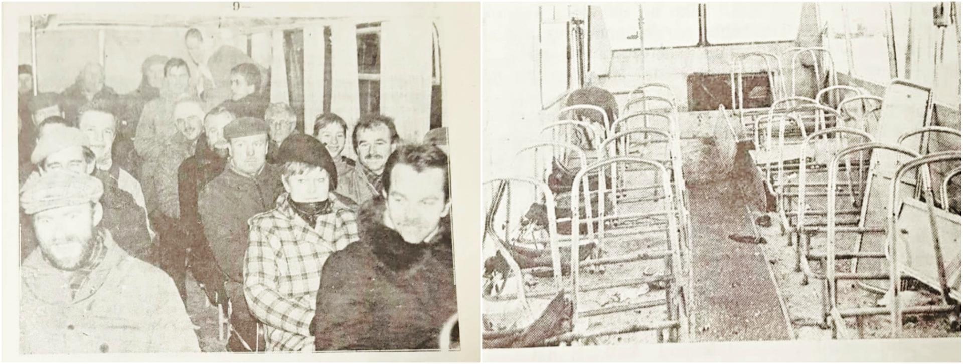 """Į Vilnių saugoti Aukščiausiosios Tarybos ir kitų objektų iš Kėdainių išvažiavo pilni autobusai. ATĮ autobusas, kuriuo į priekį su bičiuliais važiavo A. Ardavičius, iš sostinės po kruvinųjų sausio 13-osios įvykių grįžo Sovietų Sąjungos kareivių sumaitotas. Nuotr. """"Naktyje"""", """"Kėdainių garso redakcija"""", 1991 m."""