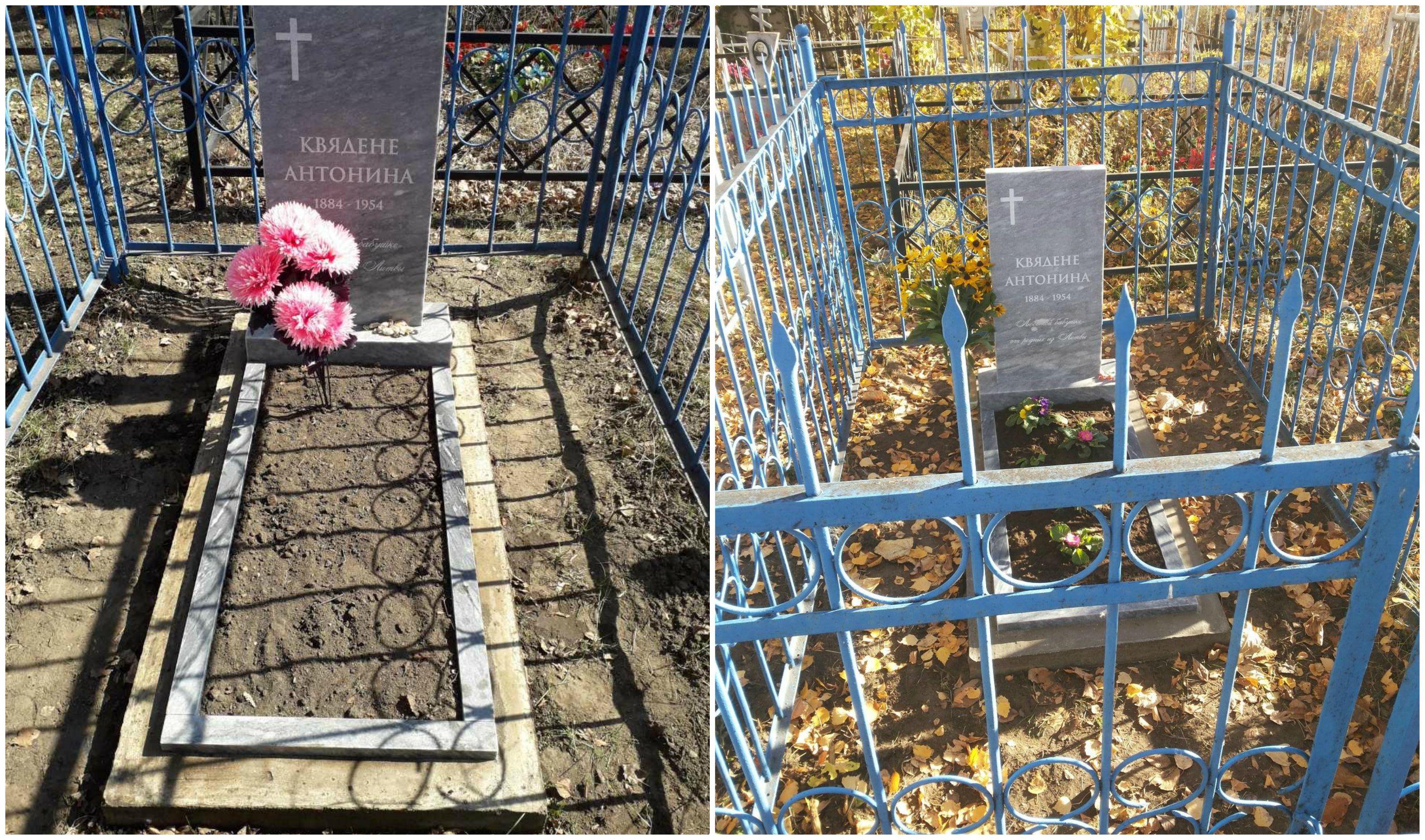"""Vainotiškietis Vidas Kvedys inicijavo močiutės Antaninos amžinojo poilsio vietos kapinaitėse Kindjakovo kaime Krasnojarsko srityje sutvarkymą ir naujo paminklo pastatymą. Paminklą papuošė penkių gyvų likusių anūkų palikta žinutė """"Mylimai senelei nuo artimųjų iš Lietuvos"""". Asmeninio archyvo nuotr."""