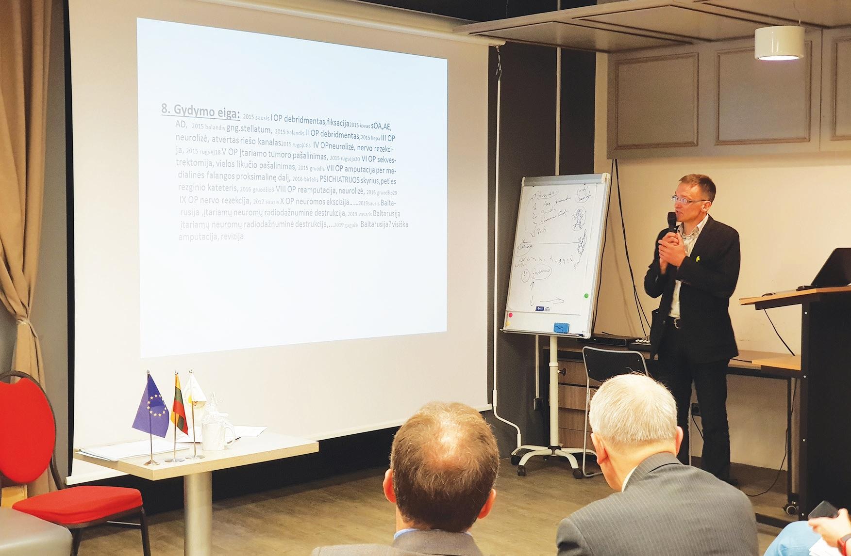 Savo pranešimą konferencijoje pristatė ir Kėdainių ligoninės gydytojas anesteziologas-reanimatologas E. Gaučas. Asmeninio archyvo nuotr.