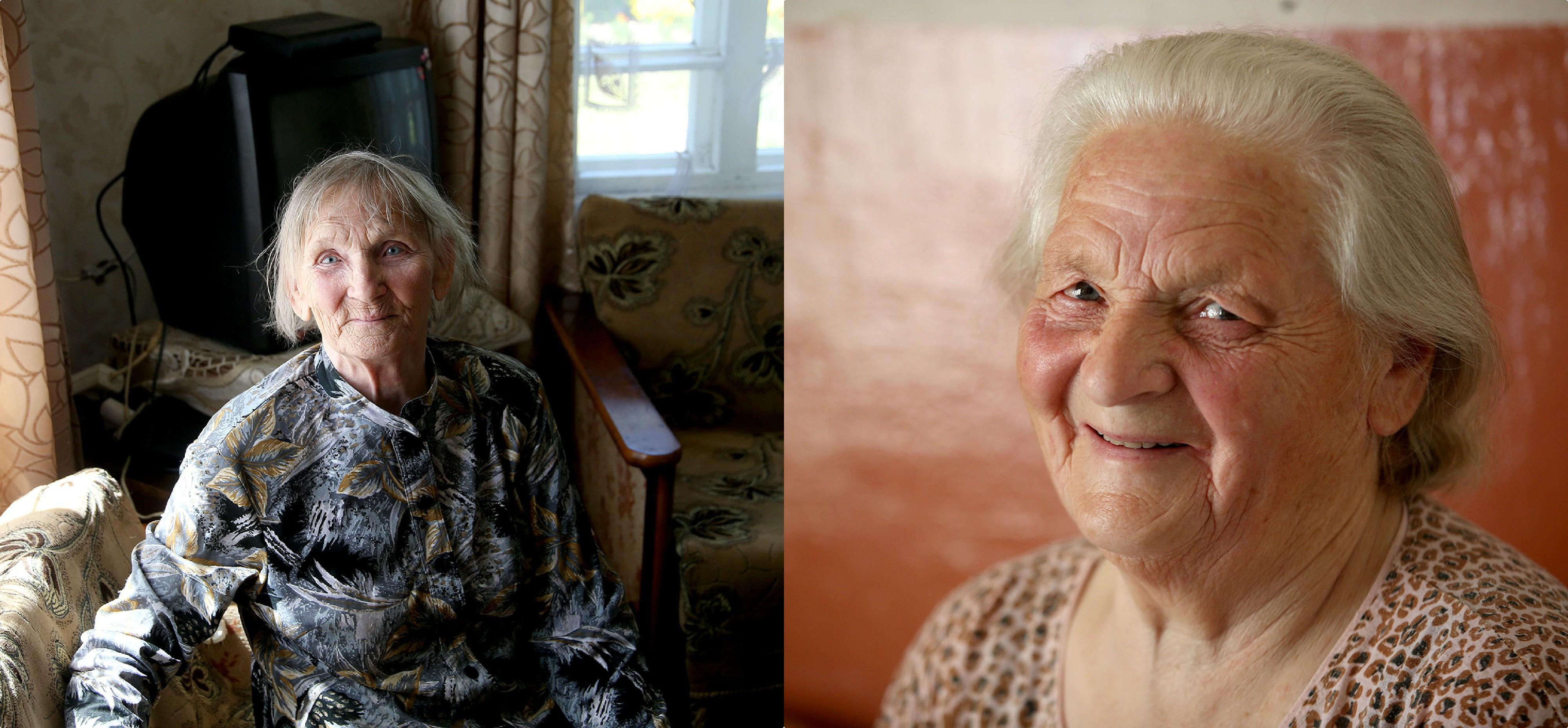 Kad Janinai vienai nebūtų liūdna, ji vienkiemyje gyvena su pussesere Tekle (dešinėje). Abiejų moterų amžius panašus, tad jos visada randa bendrą kalbą. Algimanto Barzdžiaus nuotr.