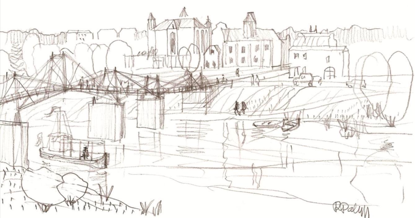 Garsus architektas, profesorius J. R. Palys pripažįsta, jog tiltas į pagrindinę Kėdainių senamiesčio aikštę – didelis, gal net didžiausias gyvenime iššūkis. J. R. Palio piešinys