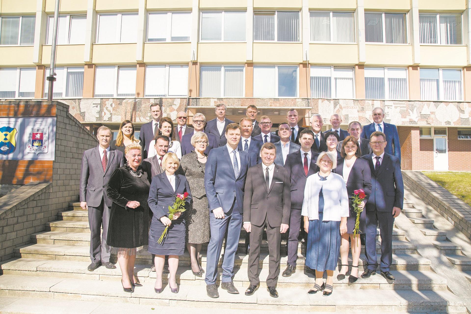 Naujai išrinktoji taryba ir tiesiogiai išrinktas meras Valentinas Tamulis prisiekė 2019 metų balandžio 17 dieną. Giedrės Minelgaitės-Dautorės nuotr.