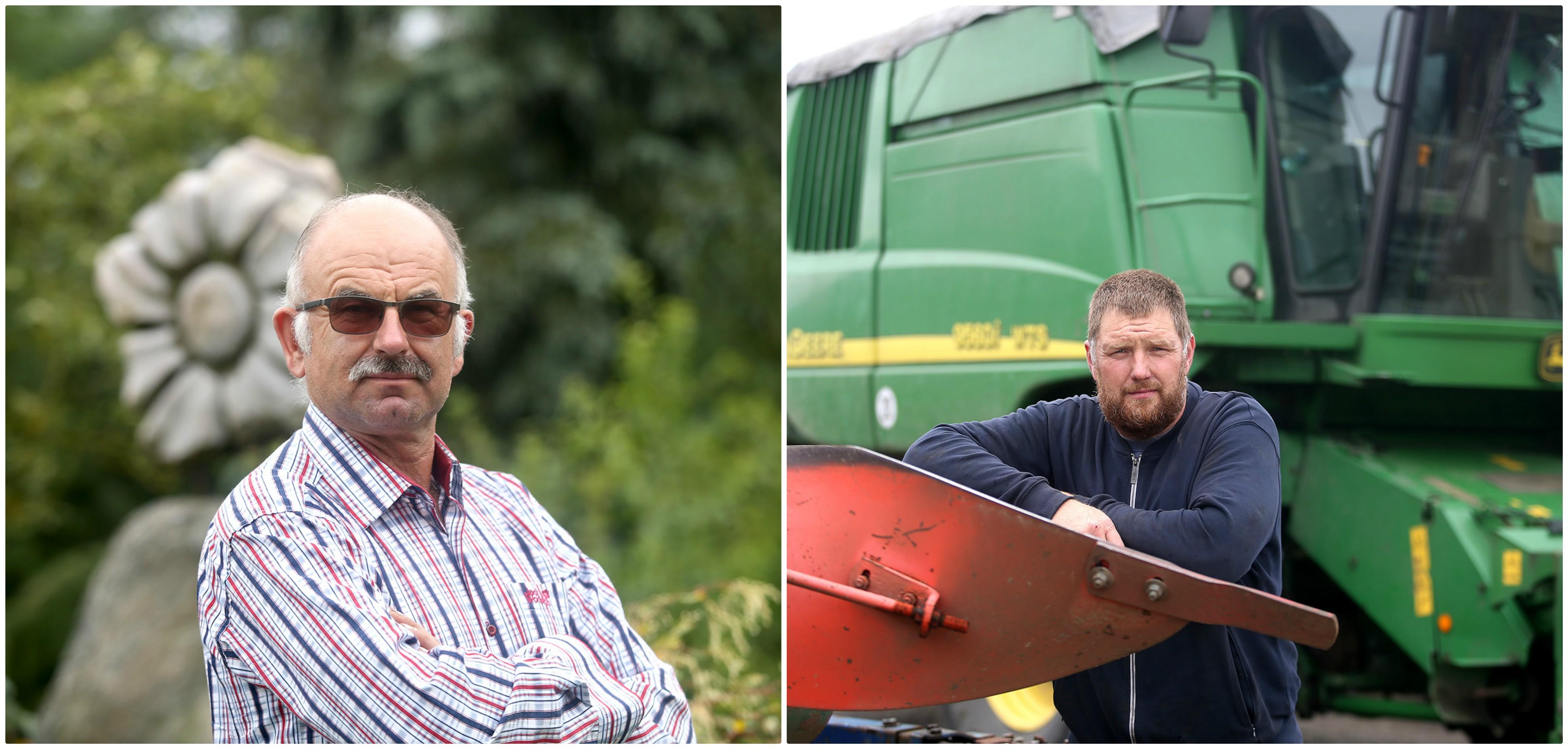 Ūkininkai Vigandas Petrėnas (kairėje) ir Darius Česevičius vieni iš tų, kuriems šiųmetė sausra padarė nemažai žalos ir jau dabar aiškėja, kad patirti nuostoliai sieks nemažas sumas./ Algimanto Barzdžiaus nuotr.