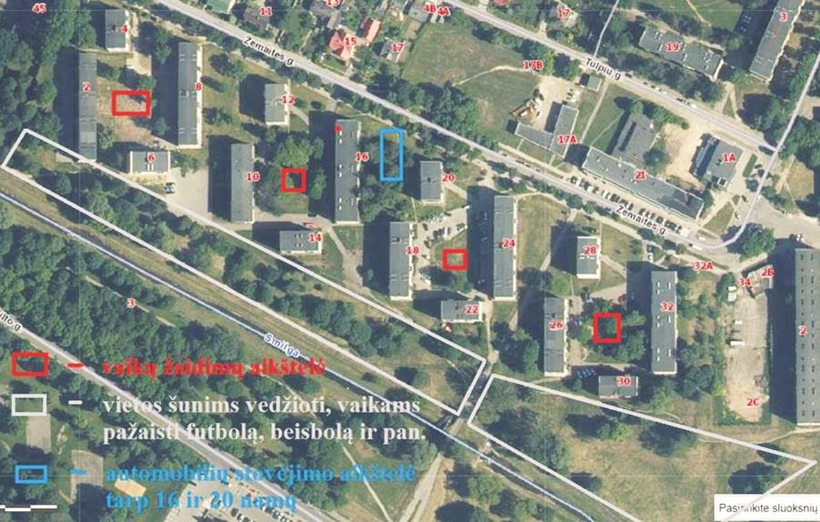 Žemėlapyje nurodoma, kad dalyje kvartalo nebuvo pakankamai automobilių stovėjimo aikštelių.