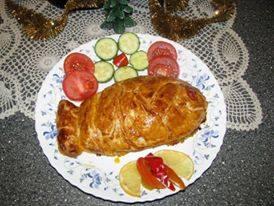 Sluoksniuotos tešlos žuvies pyragas. / Asmeninio archyvo nuotr.