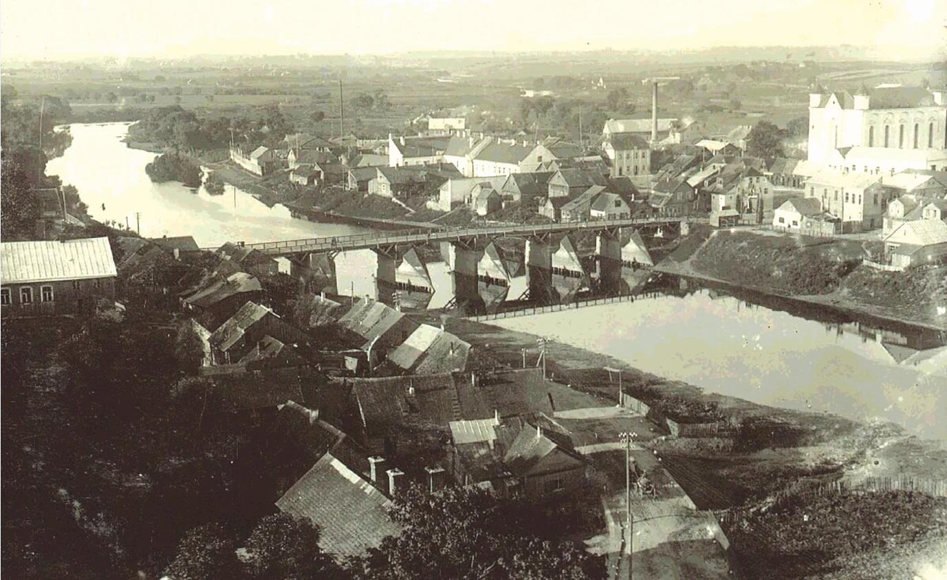 Tilto ir Kėdainių panorama tarpukariu. 1928 metų Broniaus Mikštavičiaus nuotrauka.